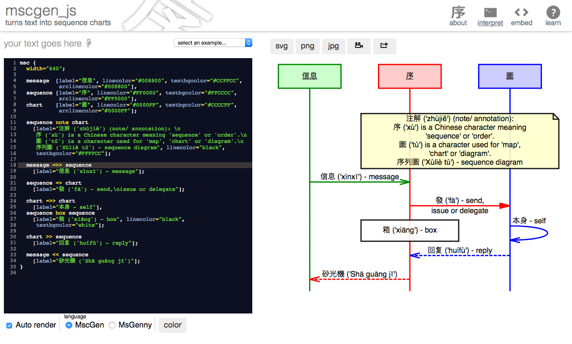 a screenshot of the mscgen_js interpreter